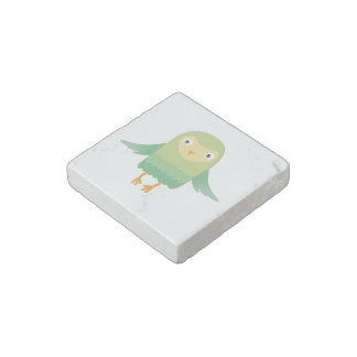 Green owl cartoon stone magnet