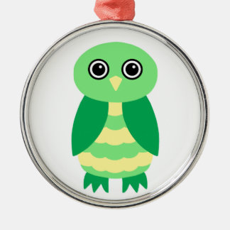 Green Owl Silver-Colored Round Decoration