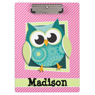 Green Owl on Pink & White Stripes Clipboard