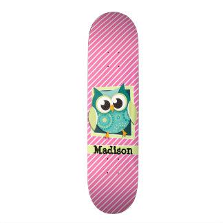 Green Owl on Pink & White Stripes Skate Deck