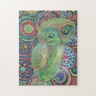 green owl painting puzzle