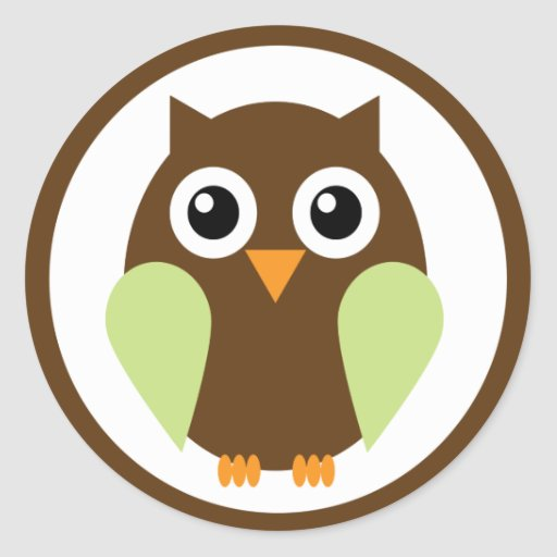 Green Owl Round Sticker