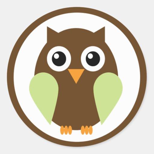 Green Owl Round Stickers