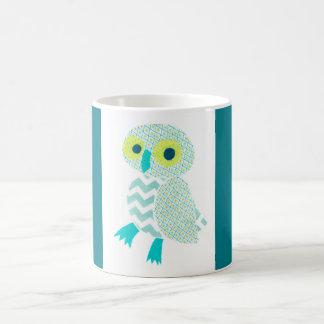 Green Owl with Blue borders mug