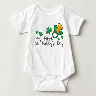 Green Pacifier and Shamrocks Baby Bodysuit
