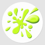 Green Paint Splodge Round Sticker