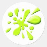 Green Paint Splodge Round Stickers