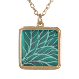 Green Painted Leaves Necklace