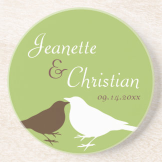 Green pair love birds custom wedding anniversary drink coaster