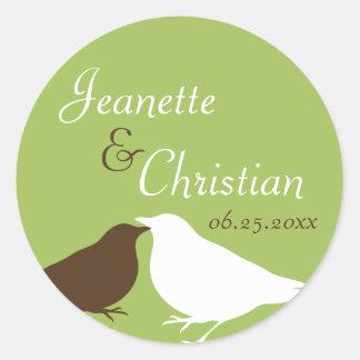 Green pair love birds wedding favor seal label round sticker