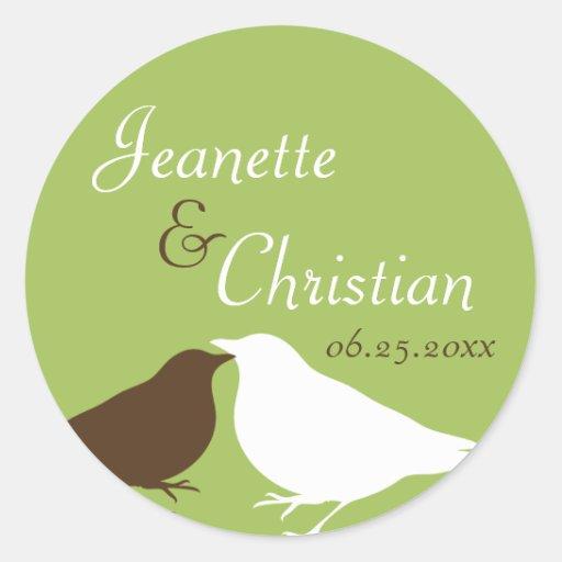 Green pair love birds wedding favor seal label stickers