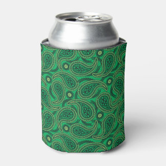 Green paisley can cooler