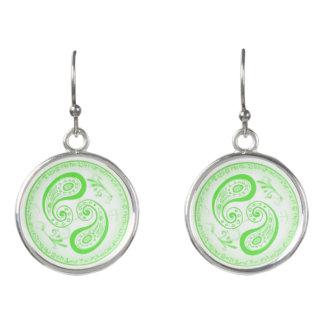 Green Paisley Circle Earrings by Julie Everhart