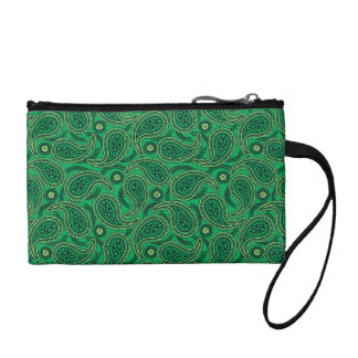 Green paisley coin purse
