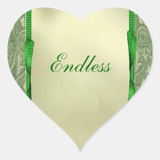 Green Paisley Heart Seal Heart Stickers