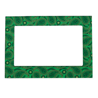 Green paisley magnetic picture frame