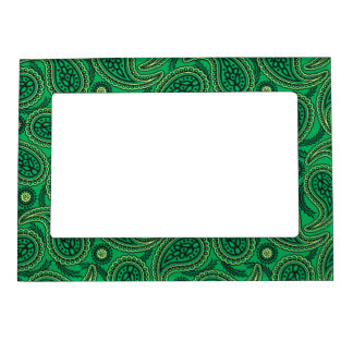 Green paisley magnetic picture frames