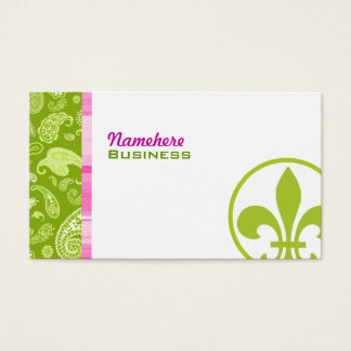 Green Paisley & Pink Plaid Business Card