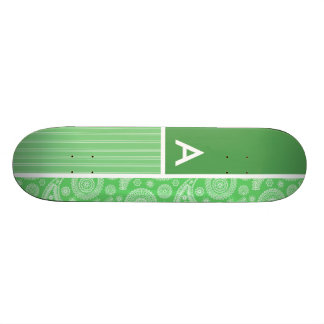 Green Paisley Custom Skate Board