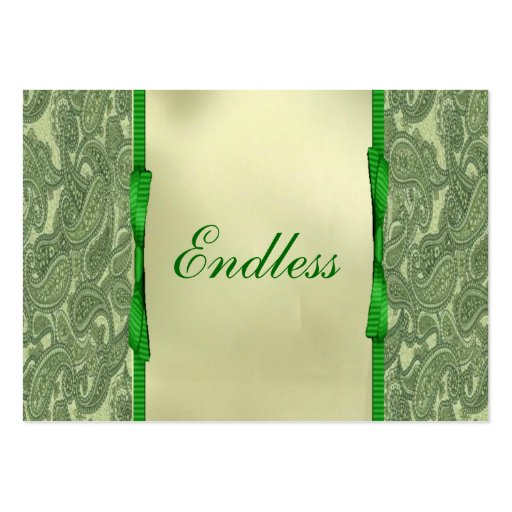 Green Paisley Thank You Business Card