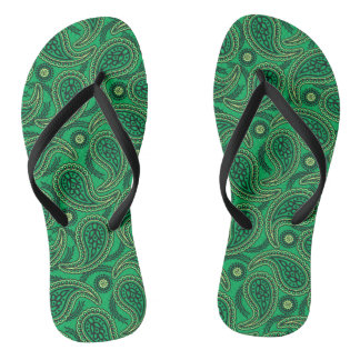 Green paisley thongs