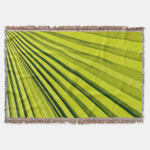 Green Palm Frond Throw Blanket