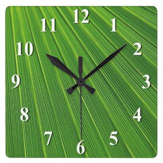 Green Palm Leaf Square Wall Clock