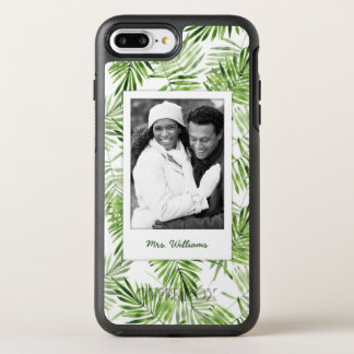 Green Palm Leaves   Add Your Photo & Name OtterBox Symmetry iPhone 7 Plus Case