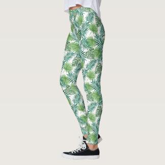 Green Palm Leaves Leggings