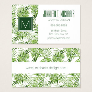 Green Palm Leaves | Monogram Business Card