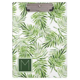 Green Palm Leaves   Monogram Clipboard