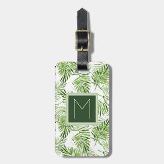 Green Palm Leaves | Monogram Luggage Tag