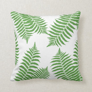 Green Palm Leaves on White Background Cushion