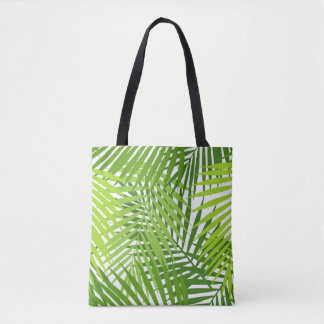 Green palm leaves pattern tote bag