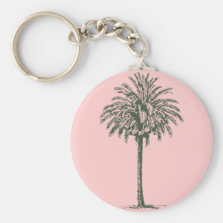 Green Palm Tree Basic Round Button Key Ring