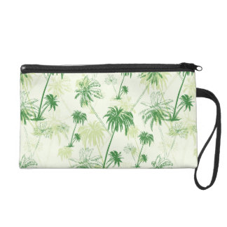 Green Palm Tree Pattern Wristlet
