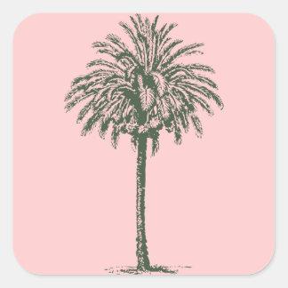 Green Palm Tree Square Sticker