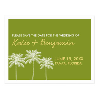 Green palm trees summer wedding chic save the date postcard