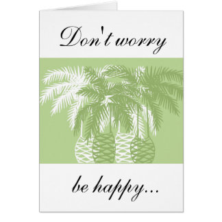 Green palm trees with tarantula greeting card