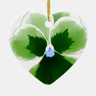 Green Pansy Flower 201711d Ceramic Ornament