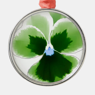 Green Pansy Flower 201711d Metal Ornament