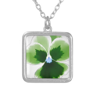 Green Pansy Flower 201711d Silver Plated Necklace