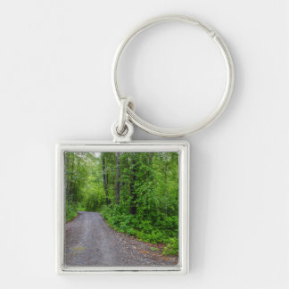 Green Paradise Silver-Colored Square Key Ring