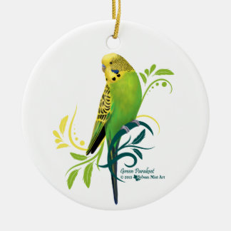Green Parakeet Ceramic Ornament