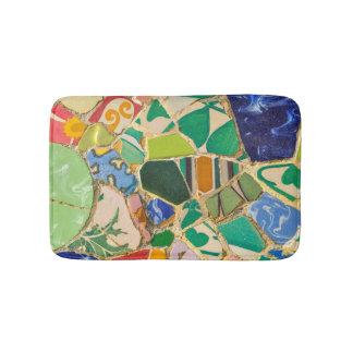 Green Parc Guell Tiles in Barcelona Spain Bath Mat