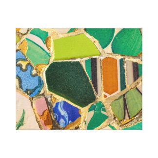 Green Parc Guell Tiles in Barcelona Spain Canvas Print