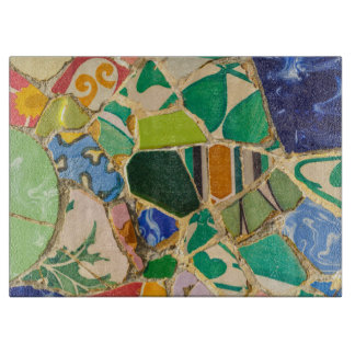 Green Parc Guell Tiles in Barcelona Spain Cutting Board