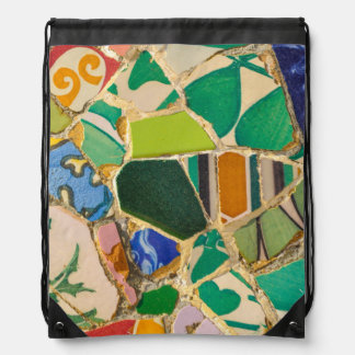 Green Parc Guell Tiles in Barcelona Spain Drawstring Bag