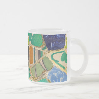 Green Parc Guell Tiles in Barcelona Spain Frosted Glass Coffee Mug