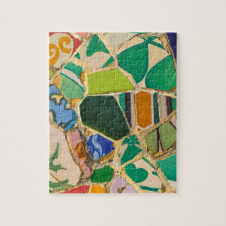 Green Parc Guell Tiles in Barcelona Spain Jigsaw Puzzle